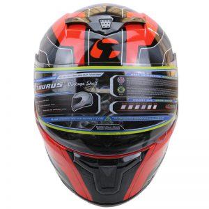 taurus vintage full face motorbike helmet red and black