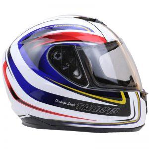 taurus vintage full face motorbike helmet white red and blue