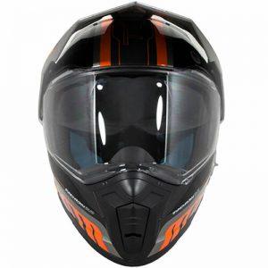 zoan synchrony dual sport motorbike helmet black and orange